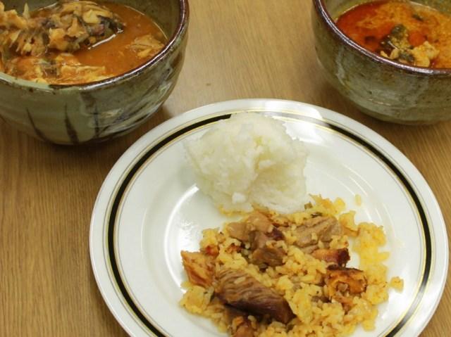 左上:Fufu、右上:ライスボールとスープのセット、下:アフリカ風ピラフ