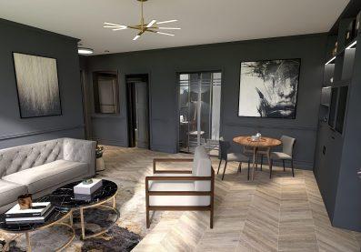 renovation apartement aux teintes sombre