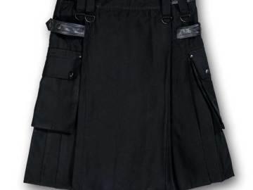 kilt noir coton et cuir vue de face