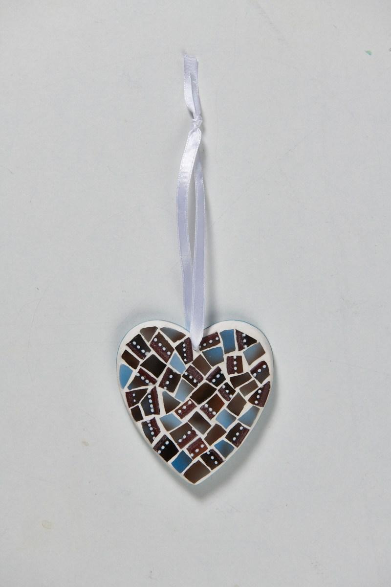 Coeur mosaïque bleu