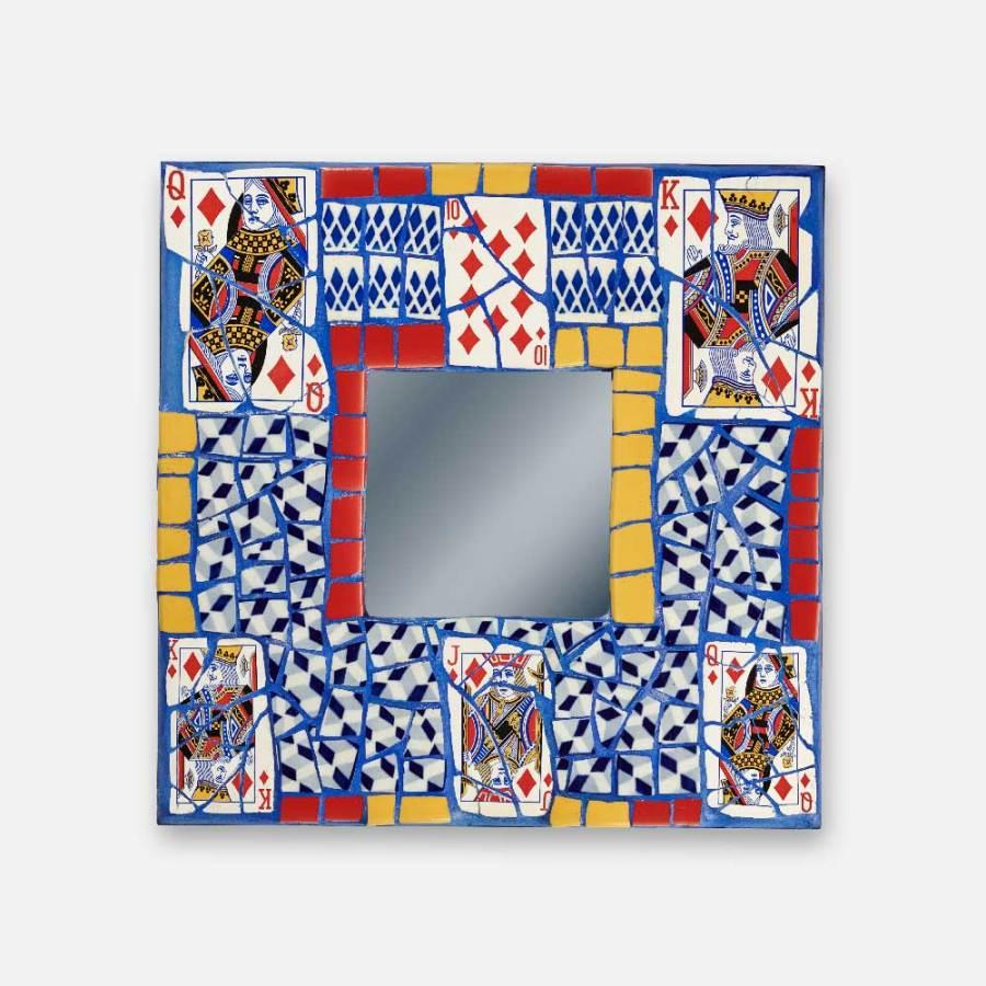 Miroir Atout Carreau jaune rouge et bleu