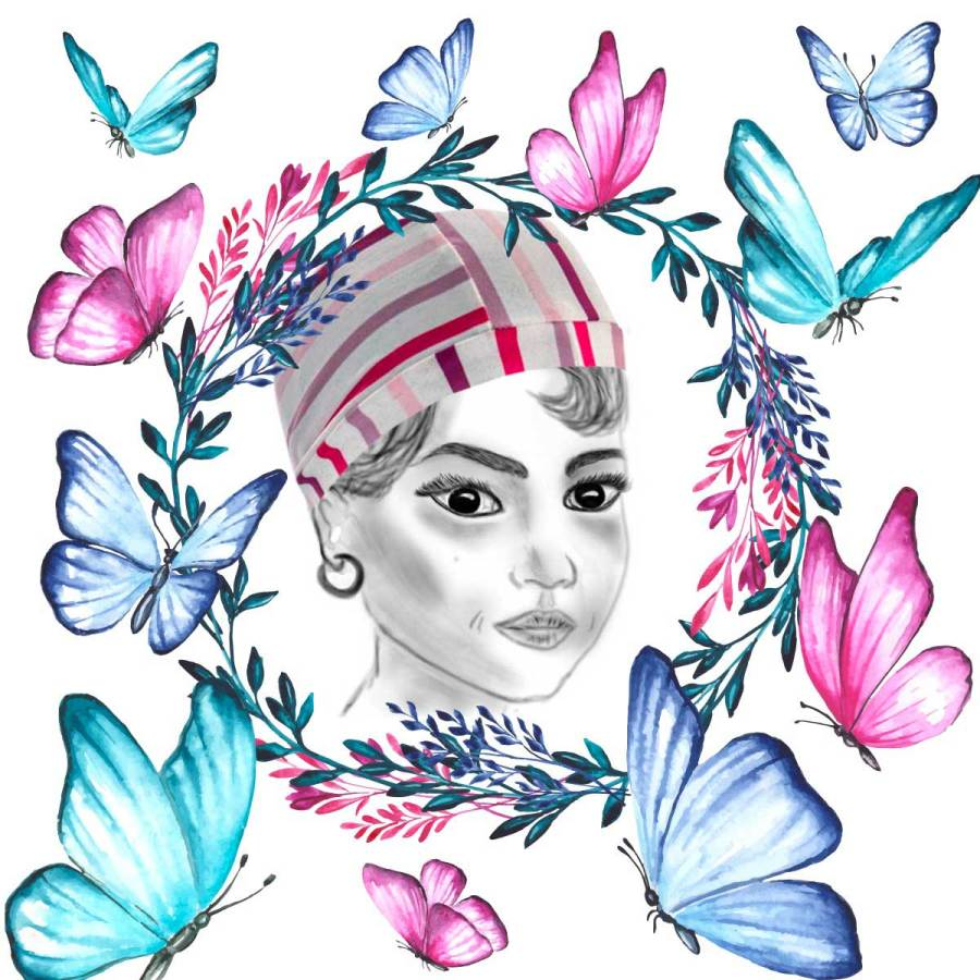 Bonnet de bain rayé rose graphisme création Christine Jegaden
