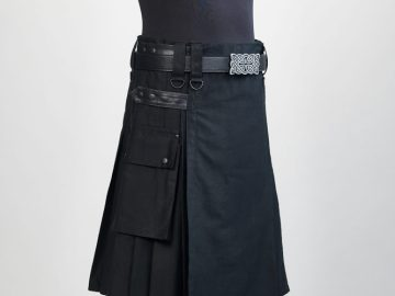 Kilt noir de travail en cotton.