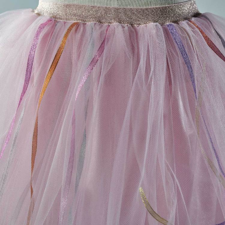 Jupe tutu Isadora en tulle rose, pour les petites filles,avec des rubans multicolores