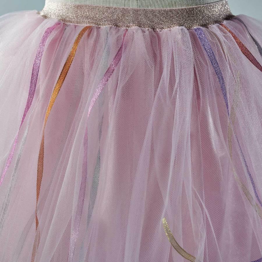 Conseils d'entretien de la Jupe tutu Isadora en tulle rose, pour les petites filles,avec des rubans multicolores
