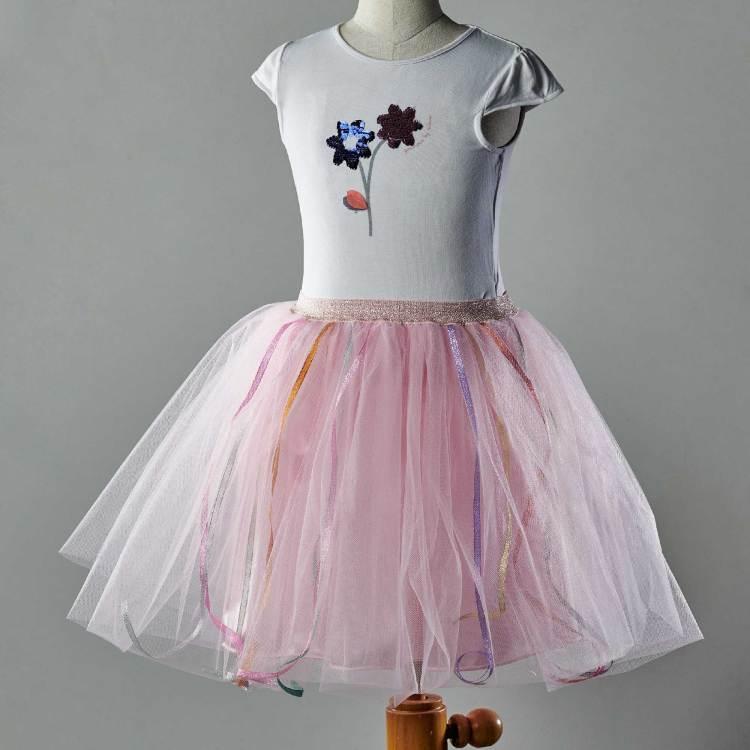 Jupe tutu Isadora rose, pour les petites filles,avec des rubans multicolores