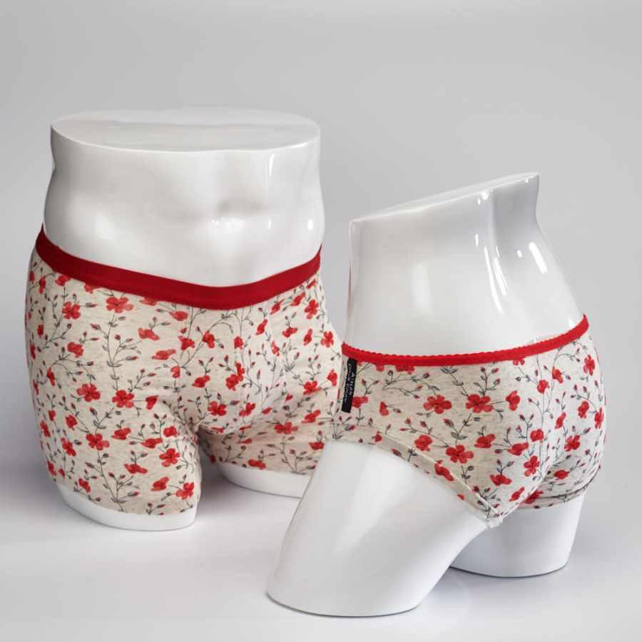 Culotte et Boxer fleurs rouges