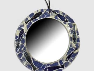 Miroir rond sardines décor marin bleu et blanc
