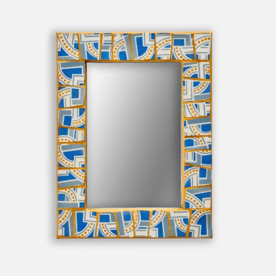 Miroir porcelaine géométrique