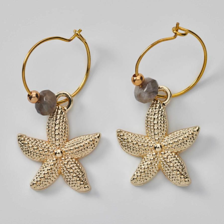 Créoles Étoiles de mer et agate de Gobi