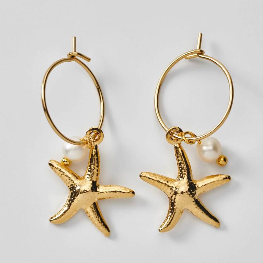 Boucles d'oreilles créoles étoiles de mer