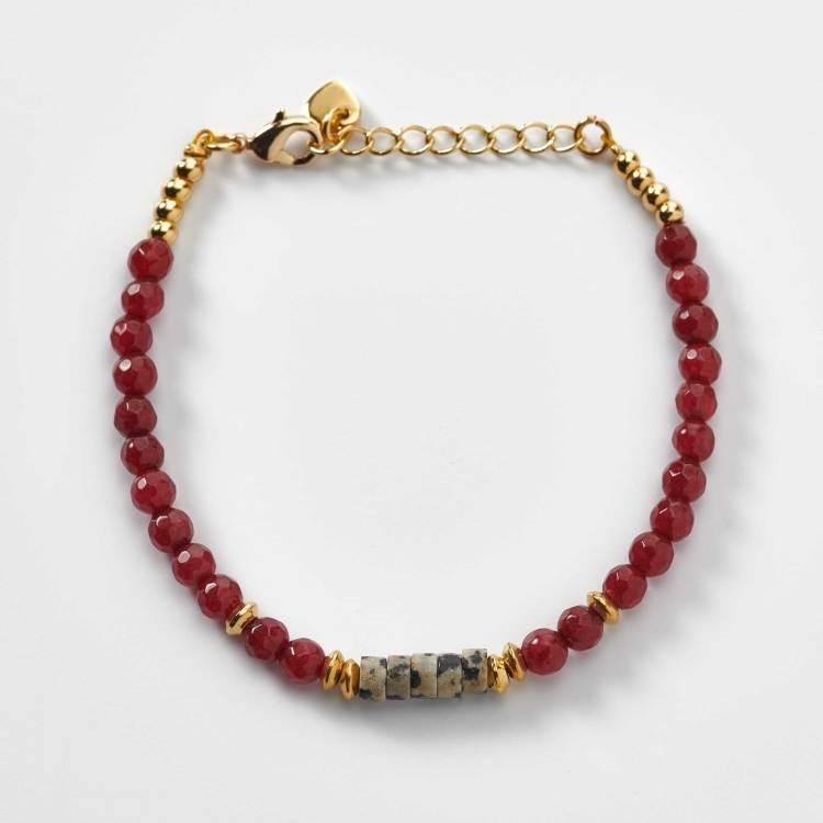 Bracelet en perles de grenat rouge et de jade création l'atelier de sylvie