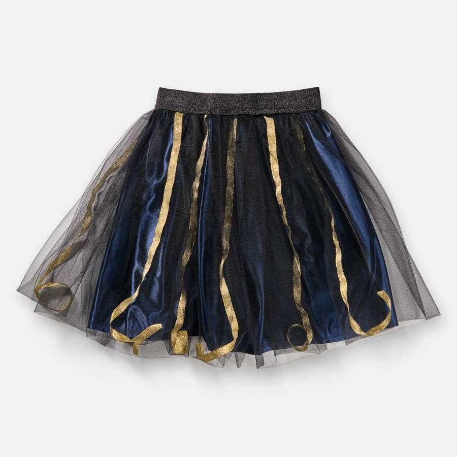 Jupe Angèle-Esprit Celtique-doublure bleu et rubans dorés