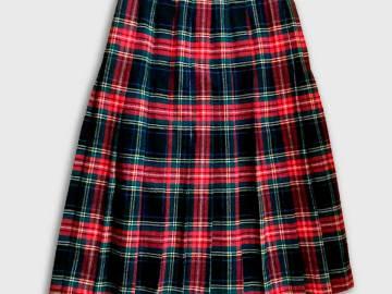 Jupe écossaise rouge en laine
