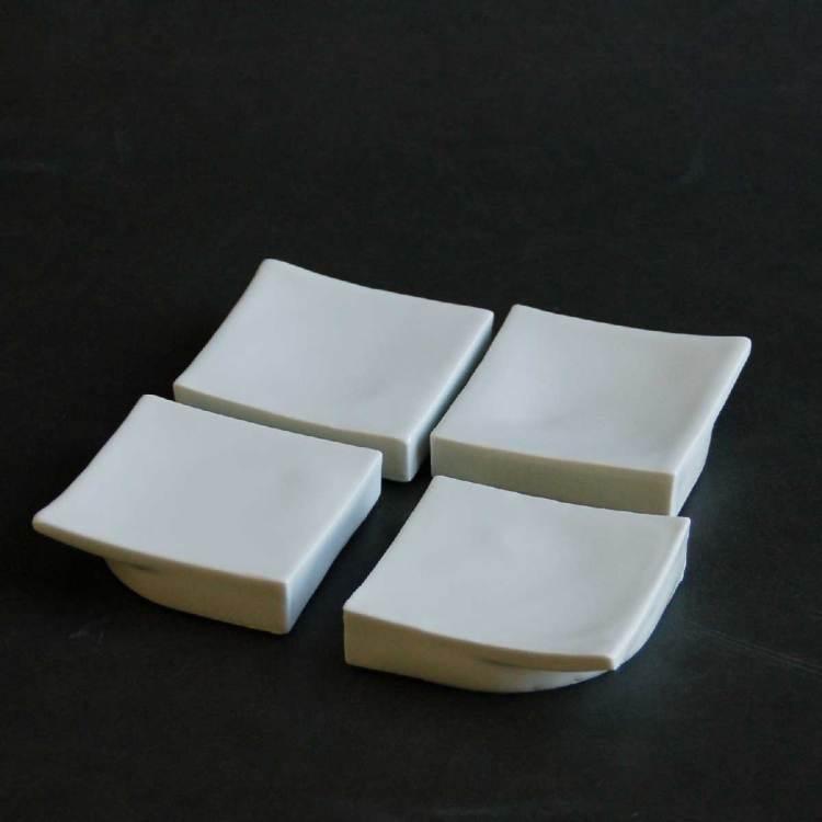 Quart, Quare coupelles plates, blanches inspiration Japonaise