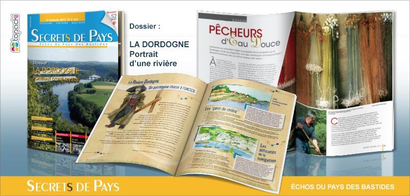 Le numéro 2 de « Secrets de Pays » et son dossier thématique « La Dordogne, portrait d'une rivière »…