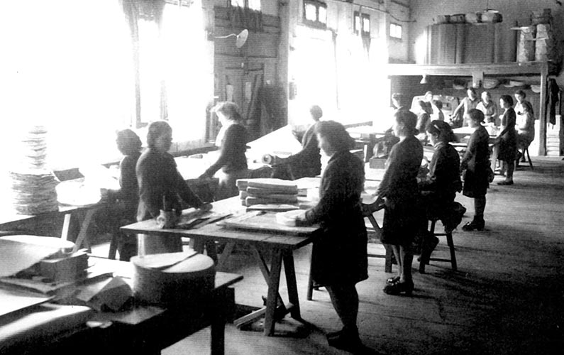 Atelier de comptage des feuilles en 1944