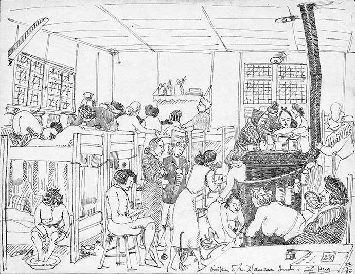 Un dortoir du camp Sud, dessin d'une prisonnière de Mauzac, janvier 1950