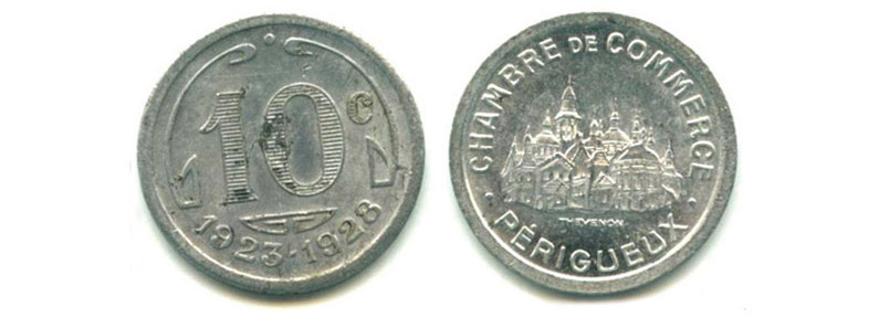 Jetons-monnaie en laiton émis par la Boulangerie coopérative de Périgueux