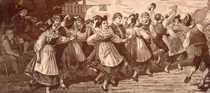 Bourrée d'Auvergne, 1860, source: blog Regards et Vie d'Auvergne.