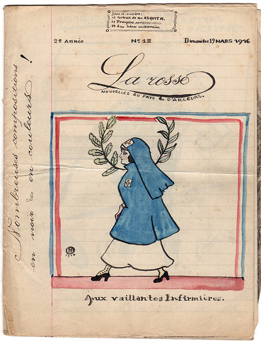 La couverture du numéro 12 de « La Rosse», journal de poilus de la Grande Guerre