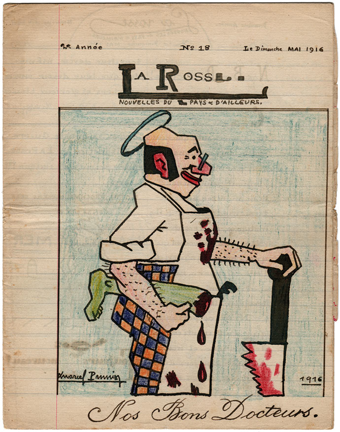 La couverture du numéro 18 de « La Rosse», journal de poilus de la Grande Guerre