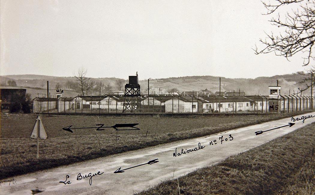 Centre pénitentiaire (Camp Nord), Sauvebœuf, commune de Lalinde. «M4» et «M5» désignent des miradors. Source : Archives départementales de la Dordogne, cote 1141 W 239.