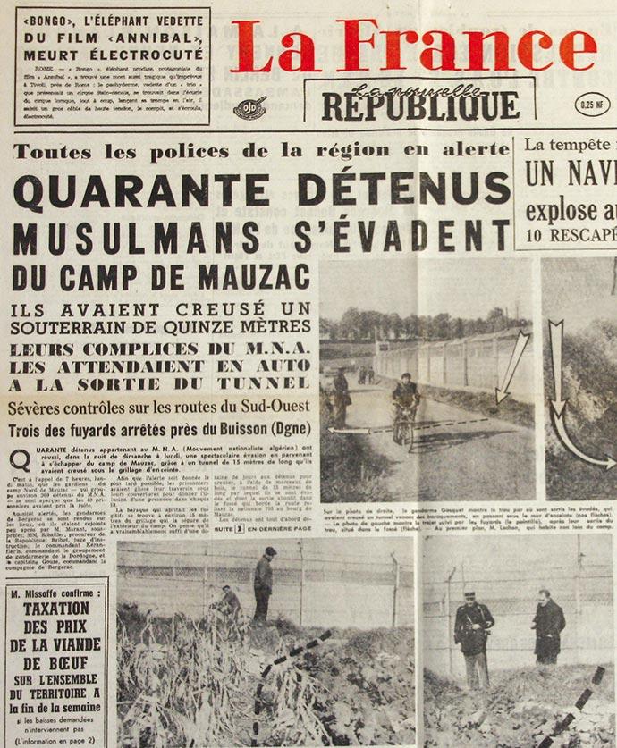 Journal La Nouvelle République du 7 novembre 1961 relatant l'évasion des détenus politiques algériens