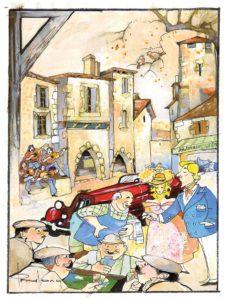 Place du Village, une illustration de Francis Pralong