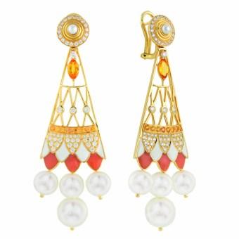 """Boucles d'Oreilles """"Soleil de Gaia"""" Or Jaune ,Diamants, Perles, Nacre et Laque."""