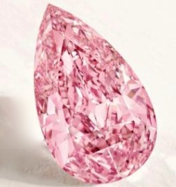 Diamant Poire, Fancy Vivid Purple-Pink, 8,41 carats, Internally Flawless Crédit Sotheby's