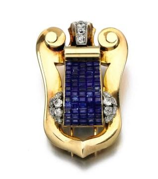 Broche BOUCHERON, saphirs et diamants, années 1940 Crédit Sotheby's