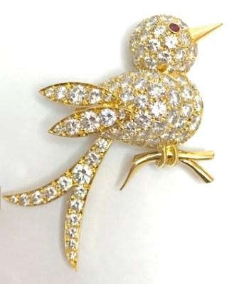 """Broche Van Cleef & Arpels """"Oiseau""""1990. Diamants, Rubis, Or."""