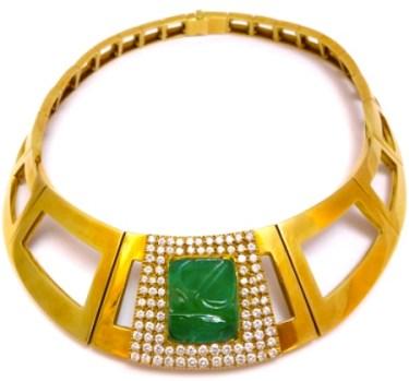 Collier Repossi Émeraude Gravée, Diamants, Or. 1970