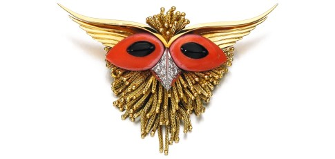 "Sterlé Broche ""Hibou"" Corail, Onyx, Diamants, Or Années 1960"