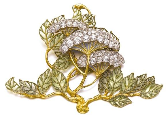 "René Lalique Broche ""Hydrangea Petiolaris"" Émail, Diamants Vers 1900"