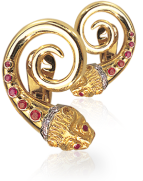 Boucles D'oreilles Diamants, Rubis, Or