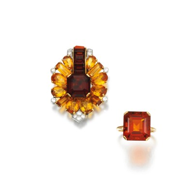 Broche et Bague Cartier Citrines et Diamants 1930