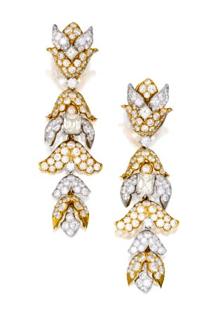 David Webb Boucles d'Oreilles Or, Platine, Diamants