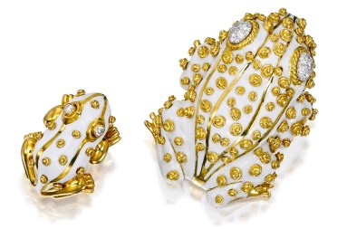"David Webb Broches ""Grenouilles"", Or, Émail, Diamants"