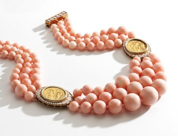 Bulgari Collier Corail, Diamants, Pièces Antiques, Or