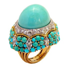 "Bague ""Cocktail"", Turquoises, Diamants, Or, Platine © Marchak"