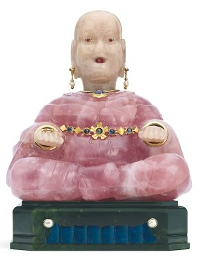 Bouddha Or, Quartz rose, Jade, Lapis-Lazuli, Diamants Cartier 1928