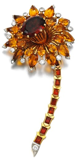 Cartier Broche Citrines, Diamants, Or, Platine 1940