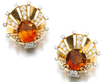Van Cleef & Arpels Boucles d'Oreilles Citrines, Diamants, Or, Platine 1940