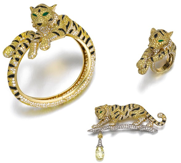 "Cartier Parure Tigre ""Sherkhan"" Diamants Jaunes, Onyx, Émeraudes, Diamants, Or"