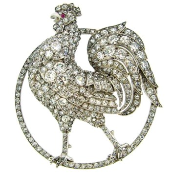 Broche Lacloche Diamants, Rubis, Platine