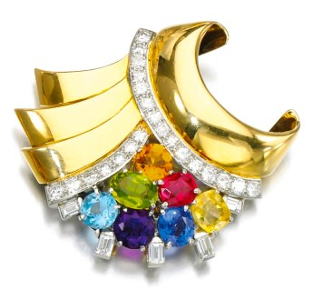 Broche Cartier Diamants, Améthyste, Saphir, Rubis, Aigue-Marine, Péridot, Citrine, Or 1950