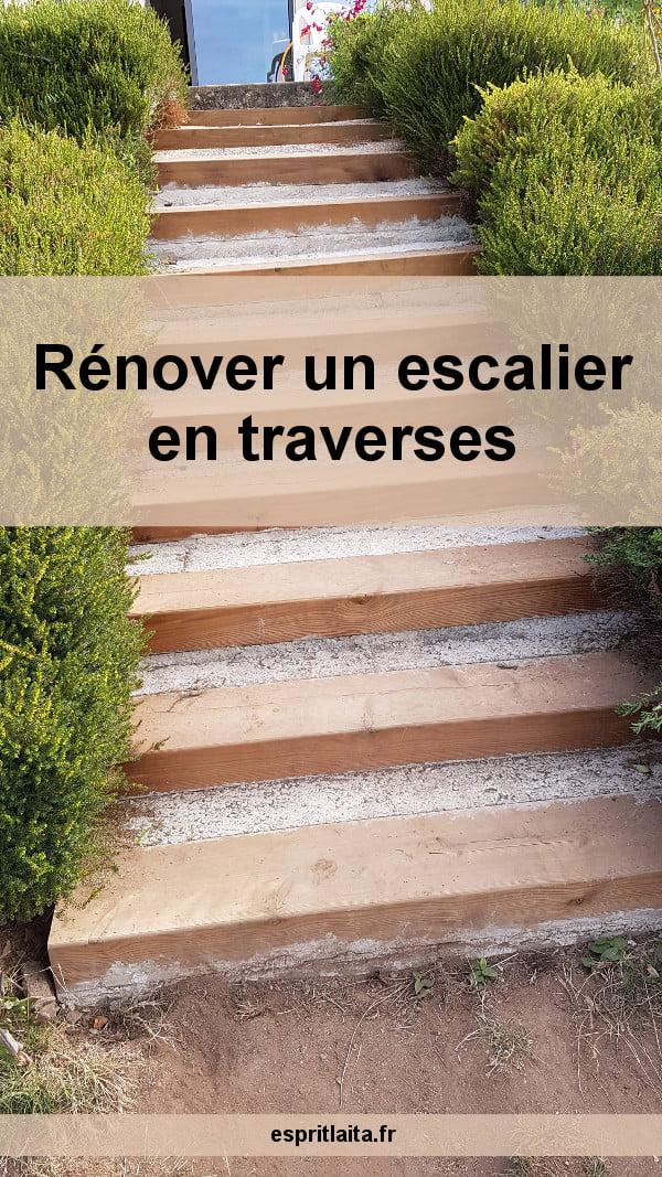 rénovation escalier traverse chemin de fer bois