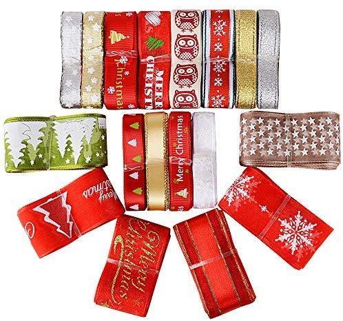Noël Rubans Décoratifs pour Sapin Arbre Motif Flocon de Neige pour Emballage de Cadeaux Mariage Scrapbooking DIY